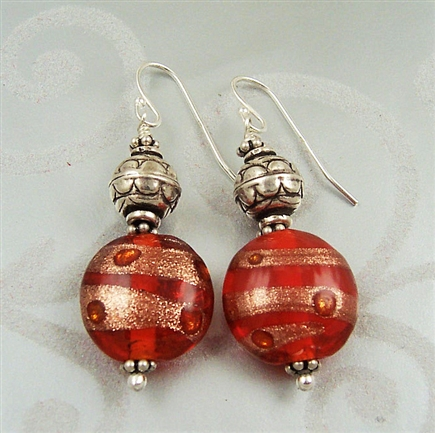 Rust Drop Earrings, Dangle Earrings, Glass, Sterling Silver, Jewelry, Bali Bead Earrings, Bali Jewelry, Rust Jewelry, Glass Earrings, Copper Color Earrings, Stoneray Studio