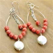 Coral Chandelier Earrings Coin Pearl Beaded Hoop Sterling Silver Dangle Stoneray Studio