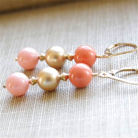Pearl Coral Earrings, Swarovski Pearl in Gold, Pink Coral, Peach Coral, 14kt Gold Filled Lever Back