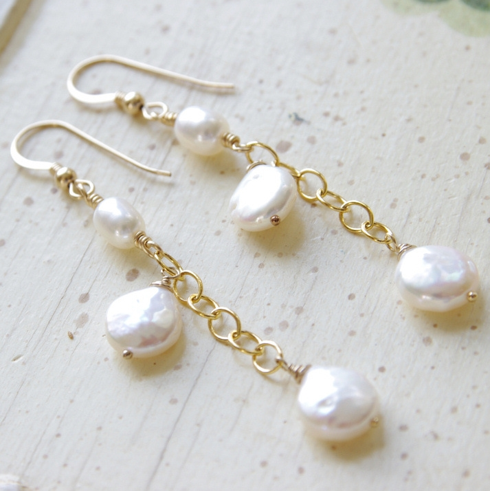 Long Pearl Earrings Dangle Earrings Freshwater Pearl 14kt Gold