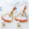 Pink Coral Earrings, Peach Coral, Freshwater Pearl, 14kt Gold Filled