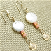 Pearl Seashell Earrings Peach Coral Drop 14kt Gold Filled Dangle Stoneray Studio