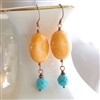 Turquoise Earrings, Orange Turquoise Magnesite, Copper