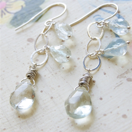 Green Amethyst Earrings, Dangle Earrings, Amethyst, Gemstone Jewelry, Sterling Silver, Wire Wrapped, Gemstone Earrings, Briolette Jewelry, February Birthday, Mint, Bride Earrings, Amethyst Jewelry, Stoneray Studio