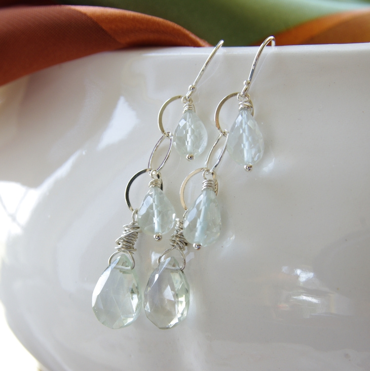 Green Amethyst Earrings, Dangle Earrings, Amethyst, Gemstone Jewelry ...