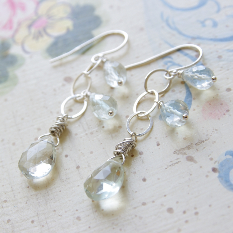 Green Amethyst Dangle Earrings Sterling Silver Wire Wrapped Hoops Bridesmaid Gift Valentines Gift Green Birthstone Jewelry