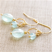 Chalcedony Dangle Earrings, Gemstone Earrings, Aqua Chalcedony, Jewelry, 14kt Gold Filled, Earrings, Chalcedony Wedding Jewelry, Aqua Bridesmaid Earrings, Chalcedony Jewelry, Blue Bride Earrings, Gold Gemstone Jewelry, Stoneray Studio