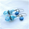 Blue Crystal Earrings, Beaded Earrings, Apatite Gemstone, Swarovski Crysal, Jewelry, Glass, Bronze Jewelry, Brass Earrings, Blue Dangle Earrings, Ocean Blue Wedding Jewelry, Bridesmaid Earrings, Stoneray Studio