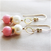 Pink Coral Earrings, Pearl Dangle Earrings, Pink Coral, Earrings, White Freshwater Pearl, Jewelry, 14kt Gold Filled, Coral Wedding Jewelry, Peach Bridesmaid Earrings, Pink Coral Bridal Earrings, Stoneray Studio