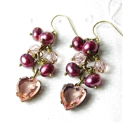 Pink Heart Earrings, Swarovski Crystal, Pearl Jewelry, Burgandy, Wine, Bronze Jewelry, Brass Earrings