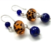 Lapis Lazuli Earrings, Blue and Brown Dangle Earrings, Leopard Glass Bead, Sterling Silver, Jewelry, Beaded Earrings, Lapis Lazuli Jewelry, Stoneray Studio