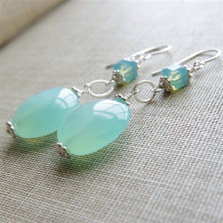 Aqua Chalcedony Earrings, Gemstone Earrings, Chalcedony Jewelry, Swarovski Crystal, Sterling Silver, Chalcedony Wedding Jewelry, Aqua Bridesmaid Earrings, Blue, Bridal, Jewelry, Stoneray Studio