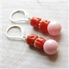 Coral Beaded Earrings, Dangle Earrings, Red Coral, Jewelry, Pink Coral, Earrings, Sterilng Silver, Lever Back, Coral Jewelry, Coral Earrings, Natural Coral, Stoneray Studio