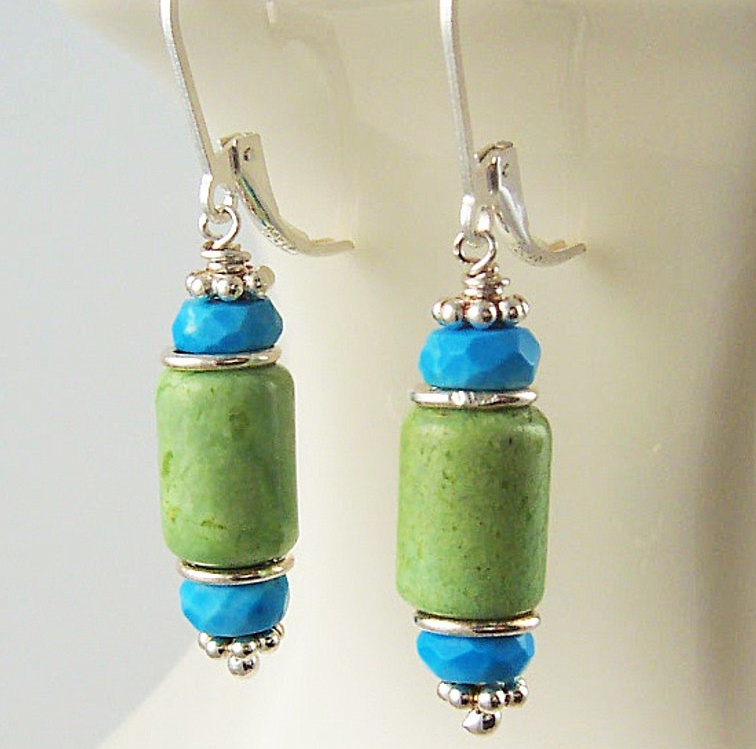 602d5e01a Turquoise Dangle Earrings, Green Chrysoprase, Sterling Silver, Turquoise  Jewelry, Chrysoprase Earrings, Beaded Earrings, Blue and Green, ...