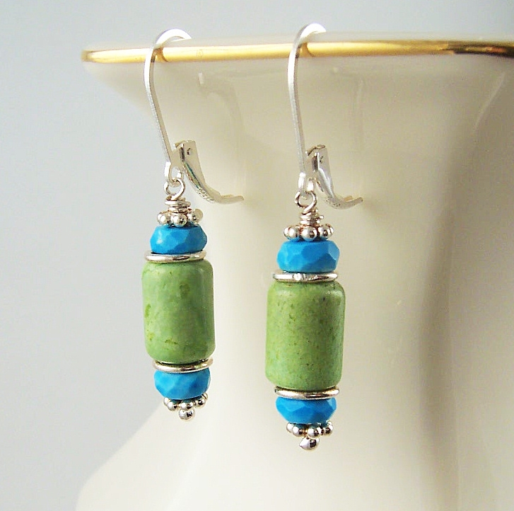 Green Turquoise Earrings Bead embroidery Earrings Green dangle Earrings Fresh Green Salad Green Boho Ethnic jewelry Turquoise MADE TO ORDER