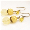 PARIS JAUNE Handmade Earrings- Yellow Jade, Citrine Gemstone, Resin Rose, Antiqued Brass