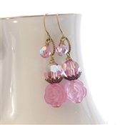 HONEYSUCKLE Earrings- Pink Swarovski Crystal, Resin Rose, Antiqued Brass.