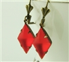 SUNDOWN Red Glass Vintage Earrings, Antiqued Brass Hollywood Glam, Artisan Handmade