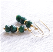 Emerald Dangle Earrings, 14kt Gold Filled