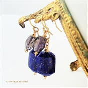 LAGOON Lapis Lazuli Earrings, Blue Iolite Gemstone 14kt Gold Filled, Artisan Handmade