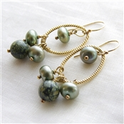 MOSS Earrings- Russian Serpentine, Green Freshwater Pearls, 14kt Gold Filled Hoops.
