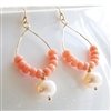 Peach Earrings, Coral, Freshwater Pearl, 14kt Gold Filled