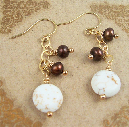 LATTE White Turquoise Earrings, Beaded Brown Freshwater Pearl 14kt Gold, Artisan Handmade
