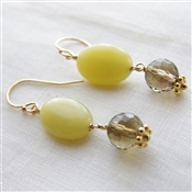 FRESH APPLE Earrings- Olive Jade, Smoky Quartz Gemstone, 14kt Gold Filled.