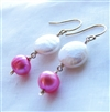 PALISADE Earrings- White Coin Pearl, Pink Freshwater Pearl, 14kt Gold Filled.
