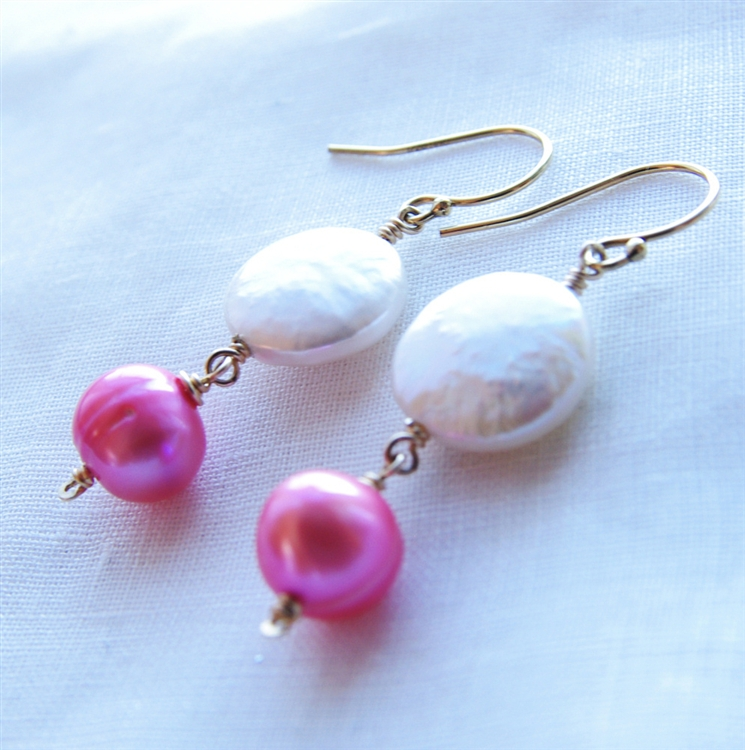 Pink White Pearl Earrings Coin Hot Freshwater 14kt Gold Fill