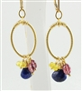SPARKLERS Earrings- Blue Sapphire, Pink Tourmaline, Citrine, 14kt Gold Filled Hoops and Lever Backs.