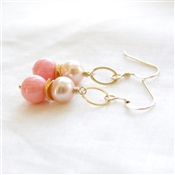 PEACH TREE Earrings- Peach Pink Coral, Peach Freshwater Pearls, 14kt Gold Filled, Brushed Gold Discs