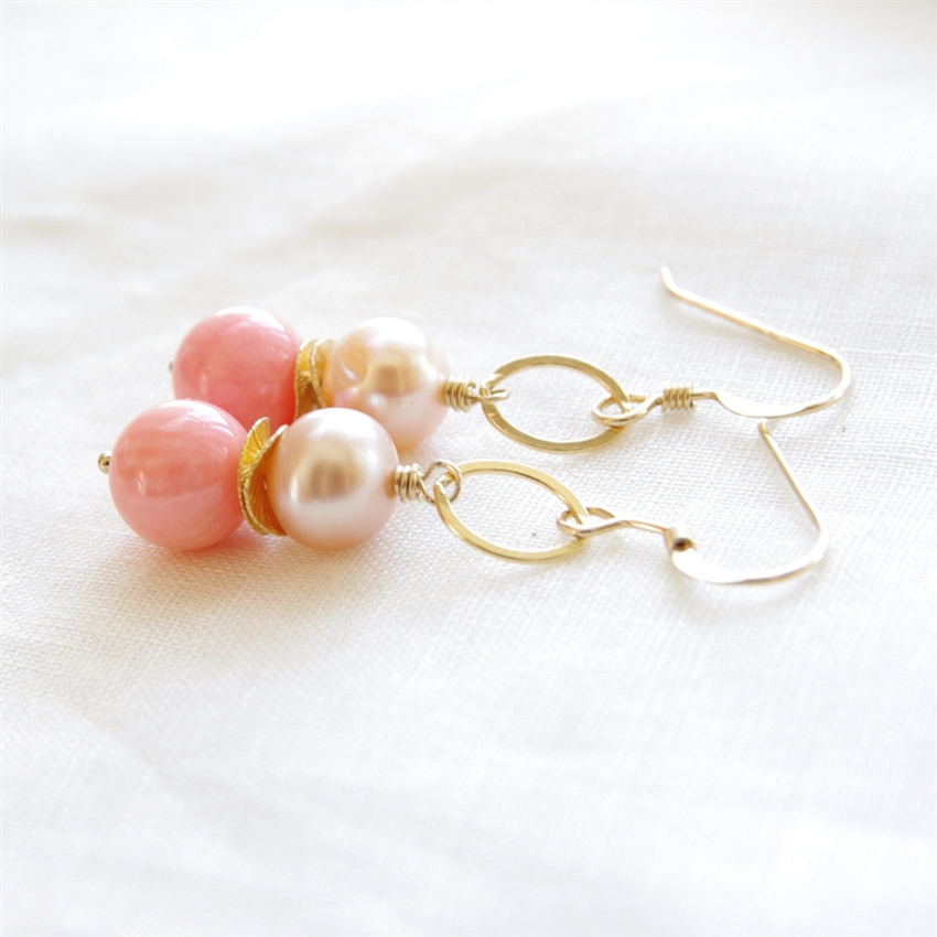 risis shop peach bead earrings com