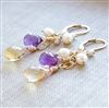 BEAUTIFUL DAY Earrings- Citrine Gemstones, Purple Amethyst, White Freshwater Pearls, 14kt Gold Filled Lever Back.
