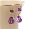 GRAPEVINE Amethyst Earrings Purple Beaded Gemstone 14kt Gold Filled Dangle, Artisan Handmade