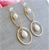TIFFANY PEARL Earrings- White Freshwater Pearls, 14kt Gold Filled Hammered Hoops.