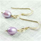 Lavender Earrings, Little Pearl Earrings, Purple Pearl Earrings, Freshwater Pearl, 14kt Gold Filled, Chiildrens Pearl Earrings, Lavender Jewelry, Pearl Jewelry, Delicate Pearl Earrings, Stoneray Studio
