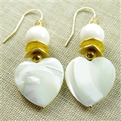 Heart Earrings Mother of Pearl Swarovski 14kt Gold Filled