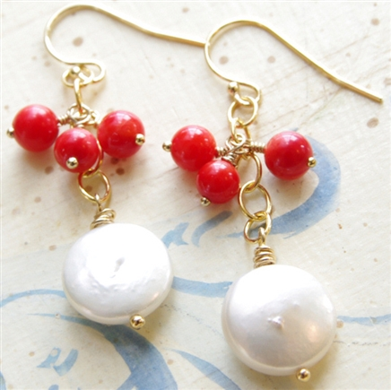 Coral Dangle Earrings, Red Coral, White Coin Pearl, 14kt Gold Filled, Coral Pearl Earrings, Red and White, Bridesmaid Earrings, Coral Wedding Jewelry, 35th Anniversary, Red Coral Jewelry, Coin Pearl Earrings, Stoneray Studio