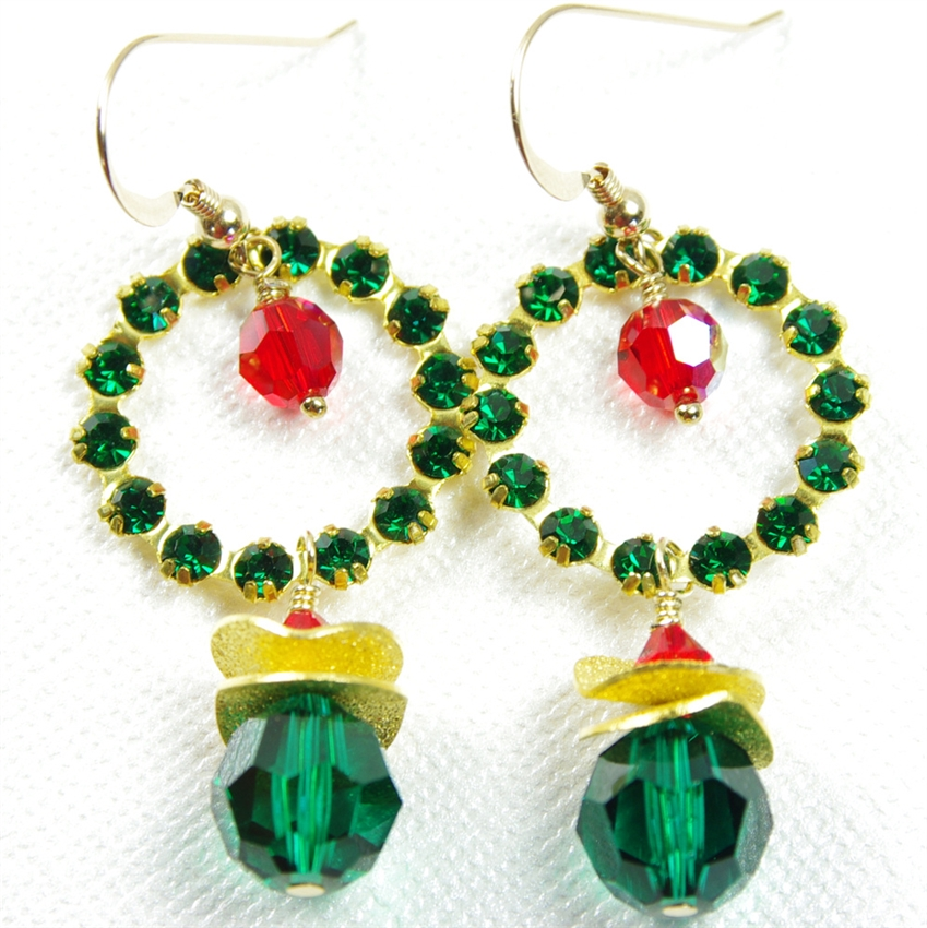 Swarovski Crystal Earrings Christmas Holiday Wreath 14kt Gold Filled