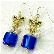 Cobalt Blue Glass Earrings White Freshwater Cultured Pearl 14kt Gold Filled Cluster Dangle with Bow