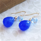 Royal Blue Chalcedony Earrings Swarovski Crystal 14kt Gold Filled Wire Wrapped Gemstone Dangle