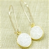 Druzy Drop Earrings Real Drusy Small Round Rainbow White Long Kidney Wire 14kt Gold Filled Dangle