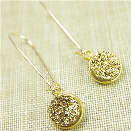 Druzy Drop Earrings Real Drusy Small Round Golden Long Kidney Wire 14kt Gold Filled Dangle