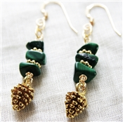 Pine Cone Earrings 14kt Gold Filled Green Malachite Gemstone