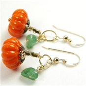 Pumpkin Earrings Orange Green Aventurine Gemstone 14kt Gold Filled Dangle Fall Jewelry