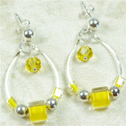 Yellow Dangle Earrings Furnace Cane Glass Citrine Sterling Silver