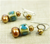 Blue Bead Earrings Brown Freshwater Cultured Pearl Sterling Silver Porcelain Ceramic Dangle