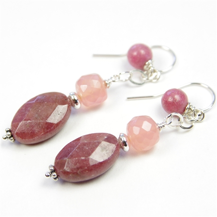 Rhodonite Earrings Pink Chalcedony Gemstone Sterling Silver Beaded Drop Dangle