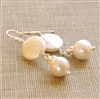 Freshwater Cultured Pearl Earrings White Coin Sterling Silver Dangle 30th Wedding Anniversary